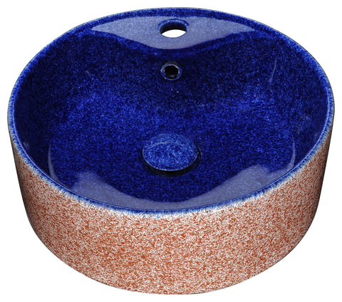 "ANZZI 15"" Regal Crown Series Ceramic Vessel Sink in Royal Blue Finish, LS-AZ228"