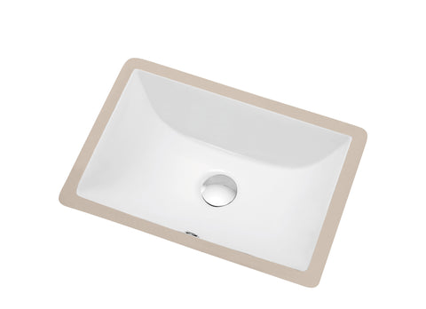"Dawn 18"" Ceramic Undermount Bathroom Sink, White, Rectangle, CUSN015000"