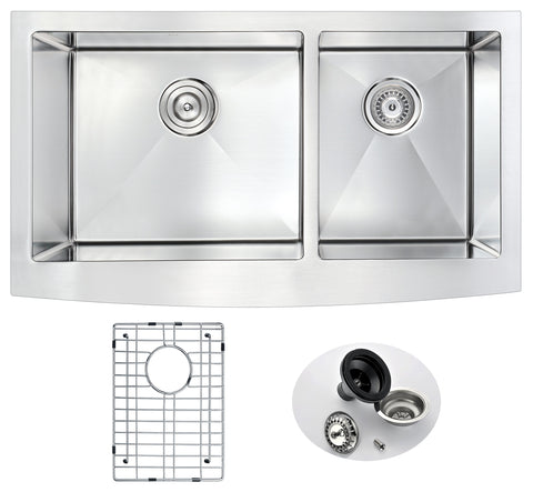 ANZZI Elysian Farmhouse Stainless Steel 36 in. 0-Hole 60/40 Double Bowl Kitchen Sink in Brushed Satin K-AZ3620-3A
