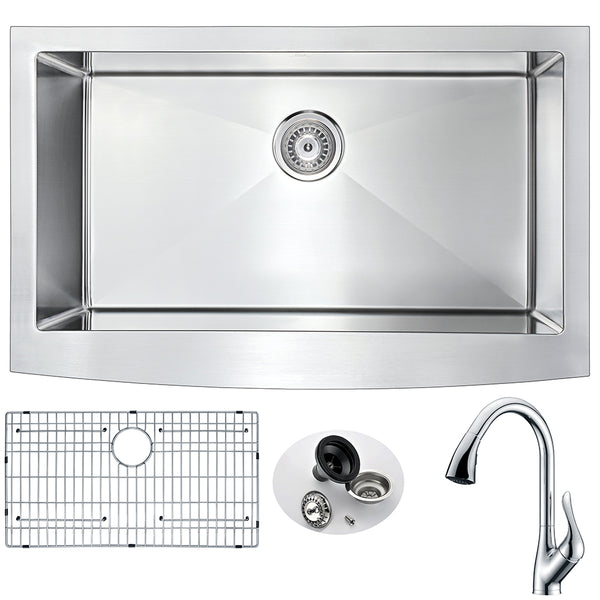 ANZZI Elysian Farmhouse Stainless Steel 32 in. Single Bowl Kitchen Sink and Faucet Set