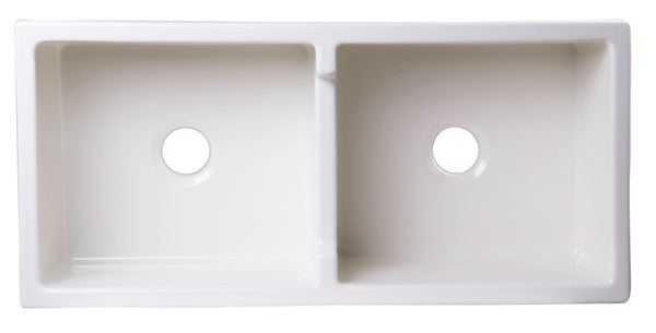 "ALFI brand AB3918DB-B 39"" Biscuit Smooth Apron Thick Wall Fireclay Double Bowl Farm Sink - The Sink Boutique"