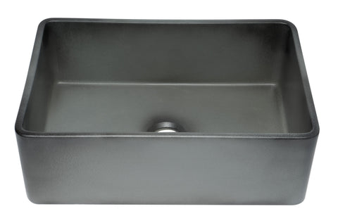 "ALFI brand 30"" Fireclay Farmhouse Sink, Concrete, ABCO3020SB"