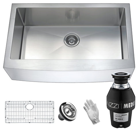 ANZZI Elysian Farmhouse Stainless Steel 32 in. 0-Hole Single Bowl Kitchen Sink with Medusa Series Garbage Disposal