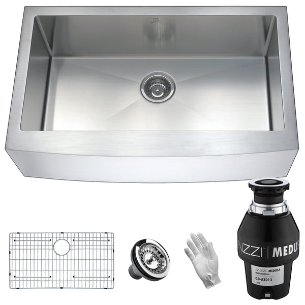 "ANZZI Elysian 32"" Stainless Steel Single Bowl Farmhouse Kitchen Sink Set with Garbage Disposal KAZ33201A - The Sink Boutique"