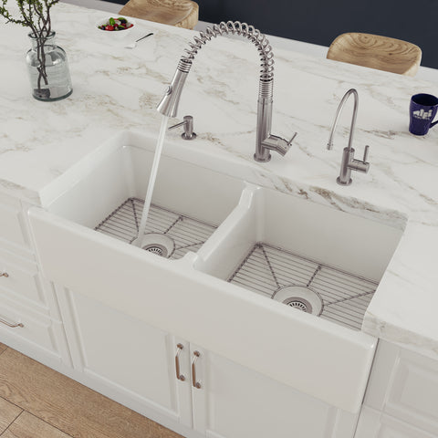"ALFI 39"" Fireclay Double Bowl Bowl Farmhouse Apron Sink, White, AB3918DB"