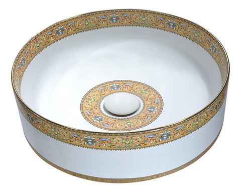 "ANZZI 15"" Byzantian Series Ceramic Vessel Sink in Mosaic Gold, LS-AZ266"
