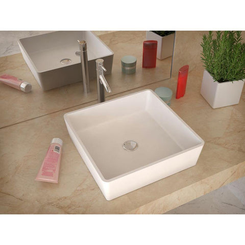 "15"" Passage 1-Piece Man Made Stone Vessel Sink in Matte White - The Sink Boutique"