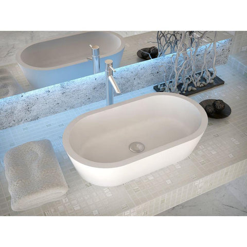 "12"" Vaine Series 1-Piece Man Made Stone Vessel Sink in Matte White - The Sink Boutique"