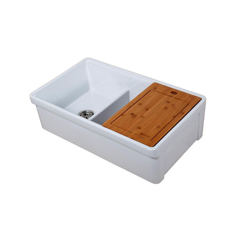 "Empire Industries Tosca 33"" Fireclay Farmhouse Sink, 60/40 Double Bowl, White, TO33D"