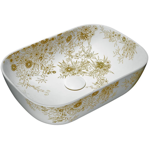 "17"" Breeze Basin Series Ceramic Vessel Sink in White and Gold, LS-AZ229 - The Sink Boutique"