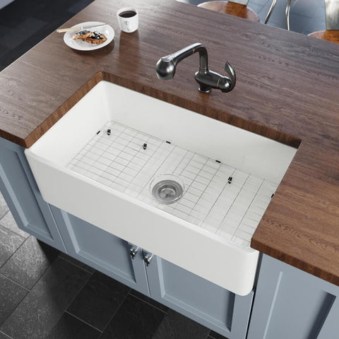 "Rene 33"" Fireclay Farmhouse Sink, White, R10-3001-ST-B"