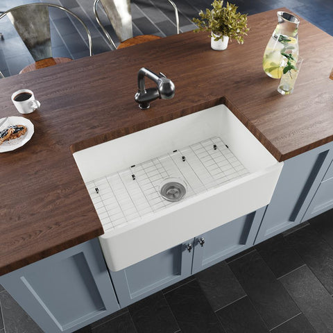 "Rene 30"" Fireclay Farmhouse Sink, White, Smooth/Fluted, R10-3002-ST-B"