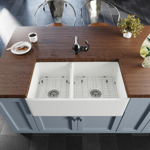 "Rene 33"" Fireclay Farmhouse Sink, 60/40 Double Bowl, White, R10-3003-ST-B"