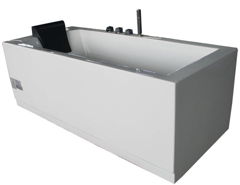 EAGO AM154ETL-R5 5 ft Acrylic White Rectangular Whirlpool Bathtub w Fixtures