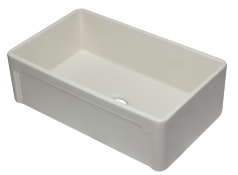 "ALFI 33"" Single Bowl Fireclay Farmhouse Apron Sink, Biscuit, AB3320SB-B"