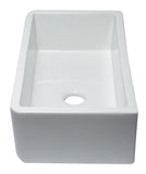 "ALFI Brand AB3318SB-W 33"" White Smooth Apron Solid Thick Wall Fireclay Single Bowl Farmhouse Sink Side"