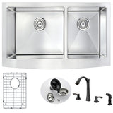 ANZZI Elysian Farmhouse Stainless Steel 36 in. Double Bowl Kitchen Sink and Faucet Set