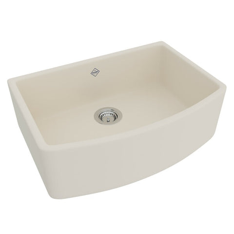 "Rohl Shaws 30"" Fireclay Single Bowl Farmhouse Curved Apron Kitchen Sink, Parchment, RC3021PCT"