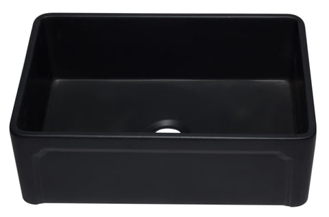"ALFI 30"" Single Bowl Fireclay Farmhouse Apron Sink, Black Matte, AB3020SB-BM"
