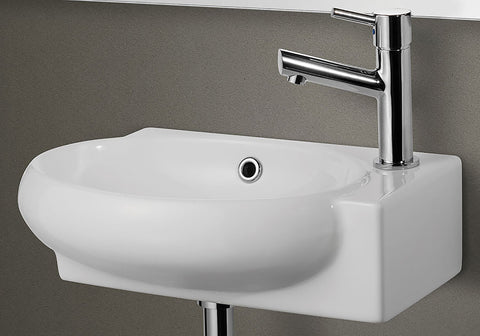 ALFI Small White Wall Mounted Ceramic Bathroom Sink Basin, AB107