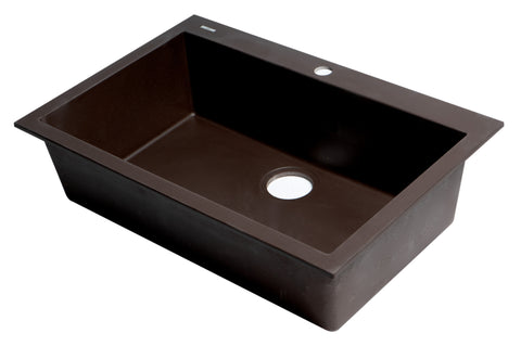 "ALFI brand AB3020DI-C Chocolate 30"" Drop-In Single Bowl Granite Composite Kitchen Sink"