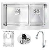 ANZZI Elysian Farmhouse Stainless Steel 33 in. Double Bowl Kitchen Sink and Faucet Set