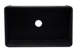 ALFI brand AB3320SB-BM 33 inch Black Reversible Single Fireclay Farmhouse Kitchen Sink Top