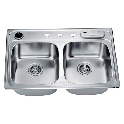 "Dawn 33"" Stainless Steel Top Mount 50/50 Double Bowl Kitchen Sink, AST3322"