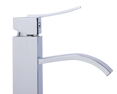 ALFI Tall Polished Chrome Tall Square Body Curved Spout Single Lever Bathroom Faucet, AB1158-PC - The Sink Boutique