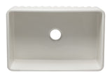 ALFI brand AB3020SB-W 30 inch White Reversible Single Fireclay Farmhouse Kitchen Sink Top