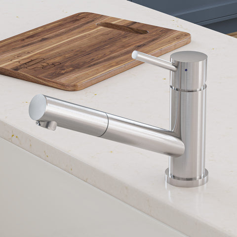 ALFI Solid Brushed Stainless Steel Pull Out Single Hole Kitchen Faucet, AB2025-BSS