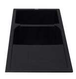 "ALFI Black 46"" Double Bowl Granite Composite Kitchen Sink with Drainboard, AB4620DI-BLA"