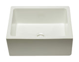 ALFI brand AB2418HS-B 24 inch Biscuit Reversible Smooth / Fluted Single Bowl Fireclay Farmhouse Sink Angled Top