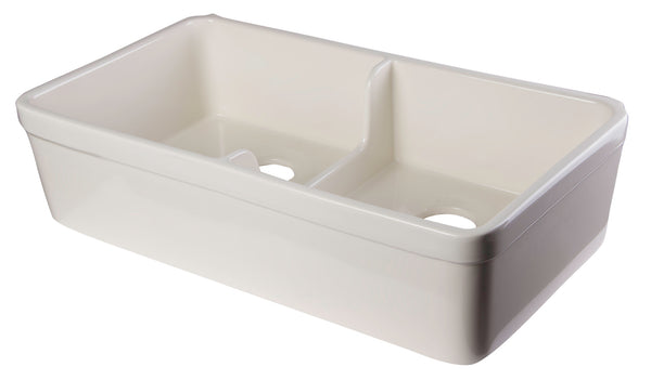 "ALFI brand AB5123-B Biscuit 32"" Short Wall Double Bowl Lip Apron Fireclay Farmhouse Kitchen Sink"