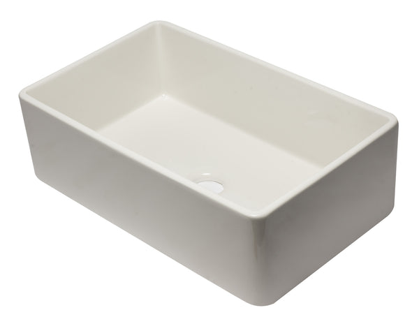ALFI brand AB3320SB-B 33 inch Biscuit Reversible Single Fireclay Farmhouse Kitchen Sink