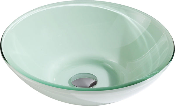 "ANZZI 15"" Sonata Series Deco-Glass Vessel Sink in Lustrous Light Green Finish"