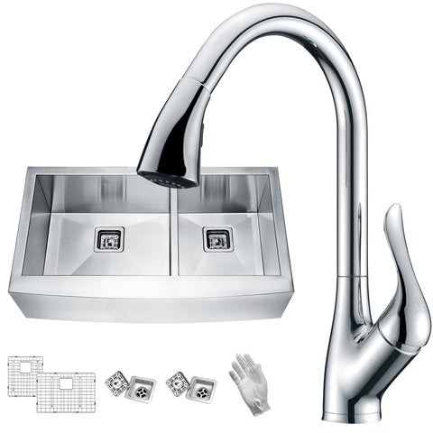 ANZZI Elysian Farmhouse Stainless Steel 33 in. 0-Hole 60/40 Double Bowl Kitchen Sink with Faucet