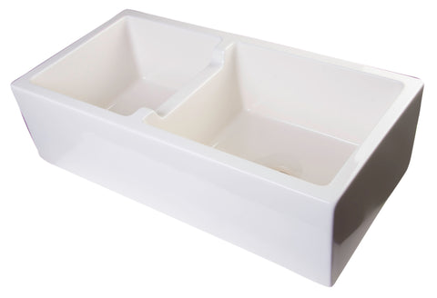 "ALFI brand AB3618DB-B  36"" Biscuit Smooth Apron Thick Wall Fireclay Double Bowl Farm Sink"