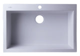 "ALFI White 30"" Drop-In Single Bowl Granite Composite Kitchen Sink, AB3020DI-W"