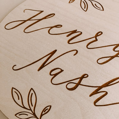Calligraphy Baby Name Plaque