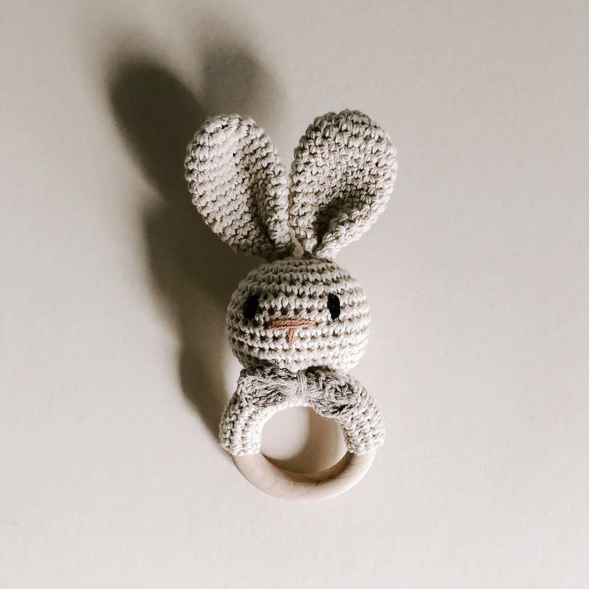 Crochet Bunny Rattle - Natural