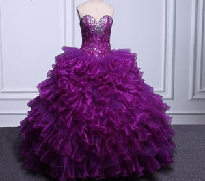 Elegant Corset Purple Quinceanera Dresses Real Photo Ball Gown