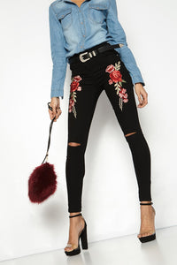 Fashion Womens Jean Popular Cut Out Pants Embroidery Red Flower Jeans Slim Skinny Denim Pants Female Floral Pants Autumn Trouser - NaomisStore.com