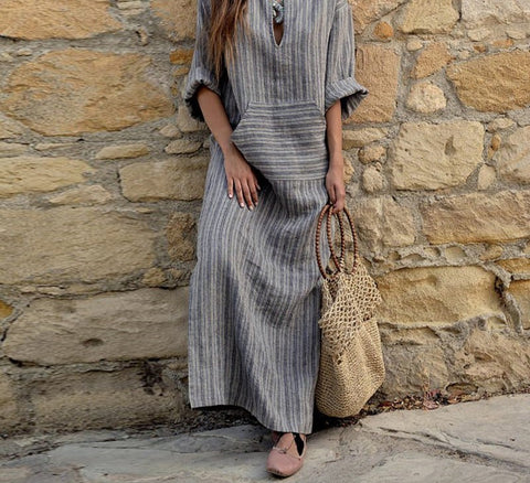2018 Autumn  Women Striped Dress Sexy V Neck Long Sleeve Maxi Long Dresses Vintage Casual Loose Plus Size Vestidos - NaomisStore.com