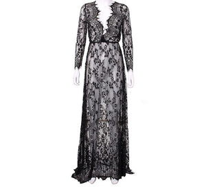 Summer European  Womens Sexy Lace Embroidery Maxi Solid White Dress