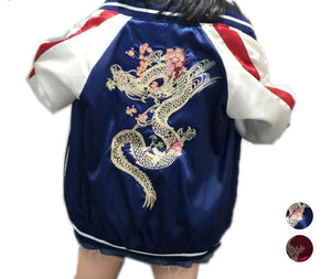 Dragon Floral Embroidery bomber jacket women  pilot jacket 2018 casual basic jackets coat Hip Hop Designs - NaomisStore.com
