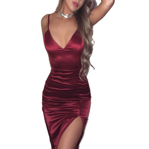 2018 UK Women Plunge V Neck Bodycon Dress Lady Evening Party Midi Club Dress Elegant Sling Lace Up Split Vestido Black Burgundy - NaomisStore.com