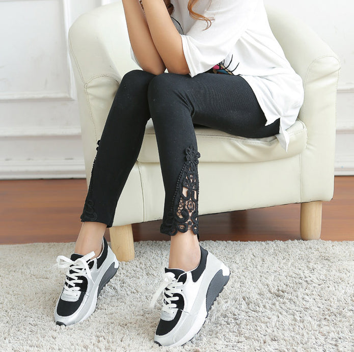 2018 New Spring and Autumn Women Side Lace Fashion Hallow Out Floral Lace Lady Navy Blue Black Gray Leggings - NaomisStore.com