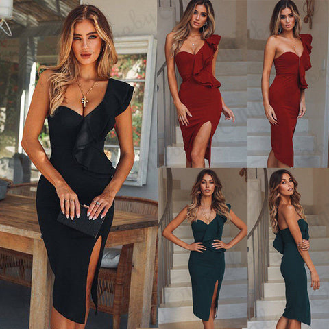 2018 New Women Summer Casual Bandage Bodycon Clubwear Party Short Midi Dress Fashion Split Single Shoulder Ruffle Solid Dresses - NaomisStore.com