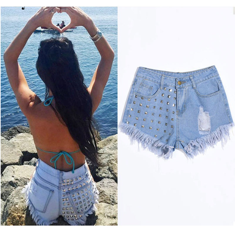 2018 high street Jeans Women tassel washed High Waist Skinny Denim Pants short Jeans shorts women embroidery flares jeans woman - NaomisStore.com
